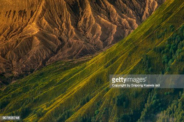 Close up of the volcano ridges of Batok and Bromo volcanoes,  Indonesia.
