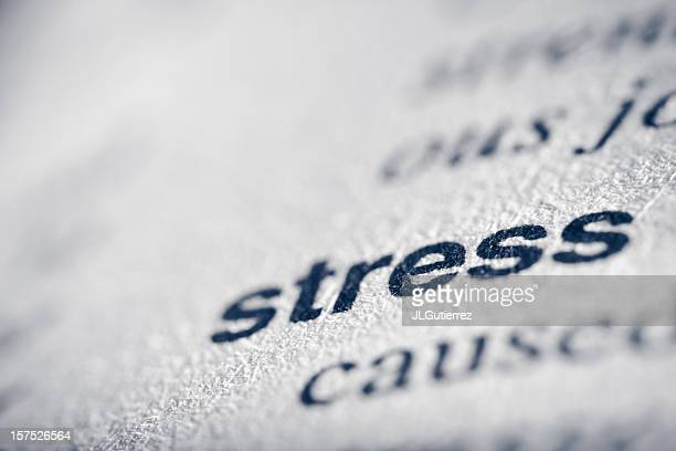 close up of the word stress in bold on a piece of paper  - single word stock pictures, royalty-free photos & images