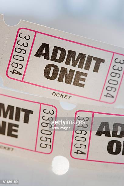 Close up of tickets