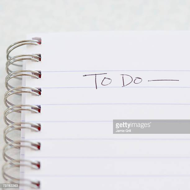 Close up of To Do list in notebook