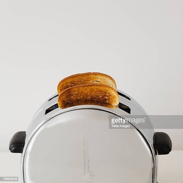 Close up of toast in toaster