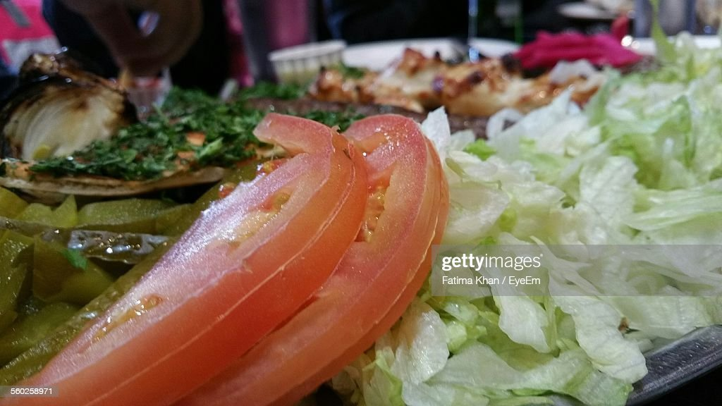 Close Up Of Tomatoes And Lettuce : Stock Photo