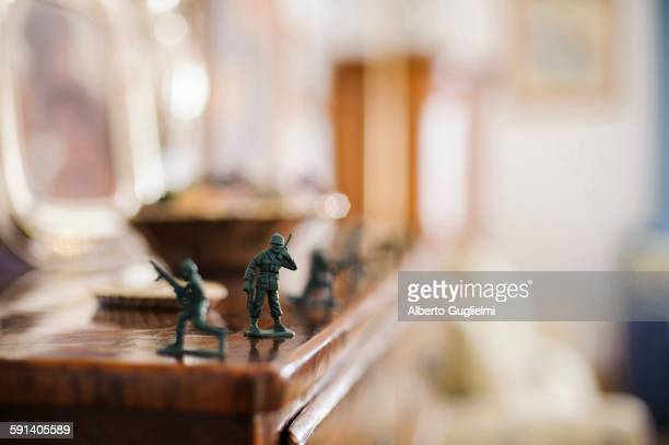 Close up of toy soldiers on mantelpiece