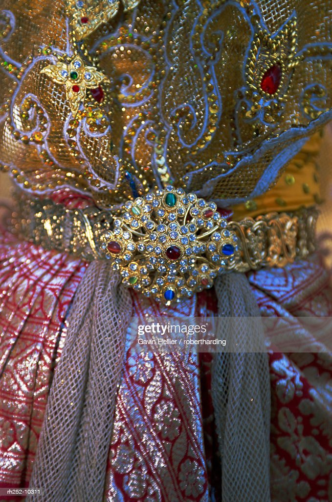 Close up of traditional Thai dance dress, Sukhothai, Thailand, Asia : Foto de stock