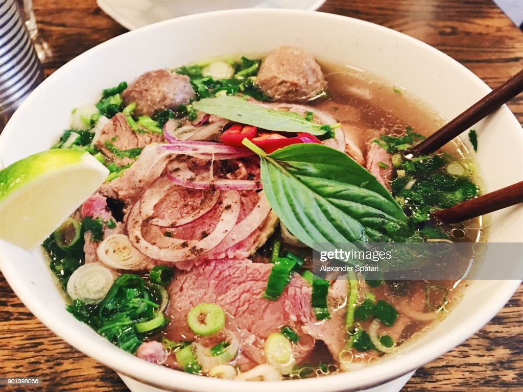 Close up of traditional Vietnamese noodle Pho soup : Stock Photo