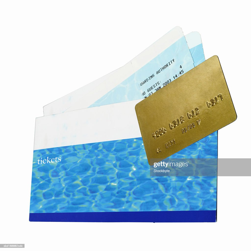 Close Up Of Travel Airline Tickets And Credit Card Stock Photo ...