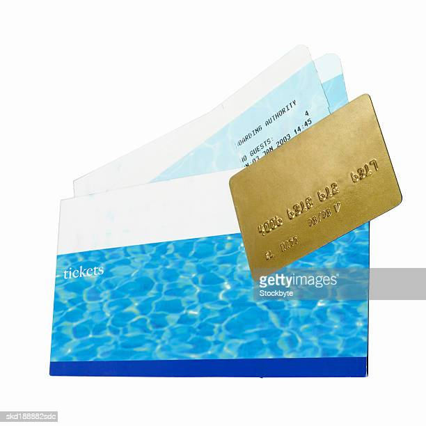 Close up of travel airline tickets and credit card
