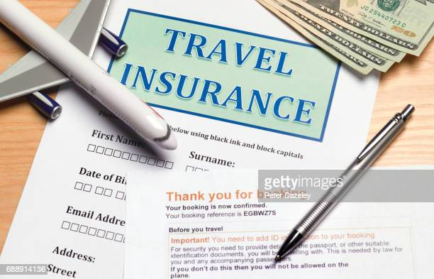 close up of travel insurance form - travel stock pictures, royalty-free photos & images