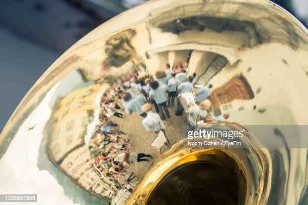 close up of trombone - noam cohen stock pictures, royalty-free photos & images