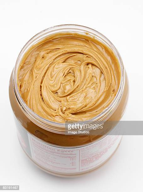 Close up of tub of peanut butter