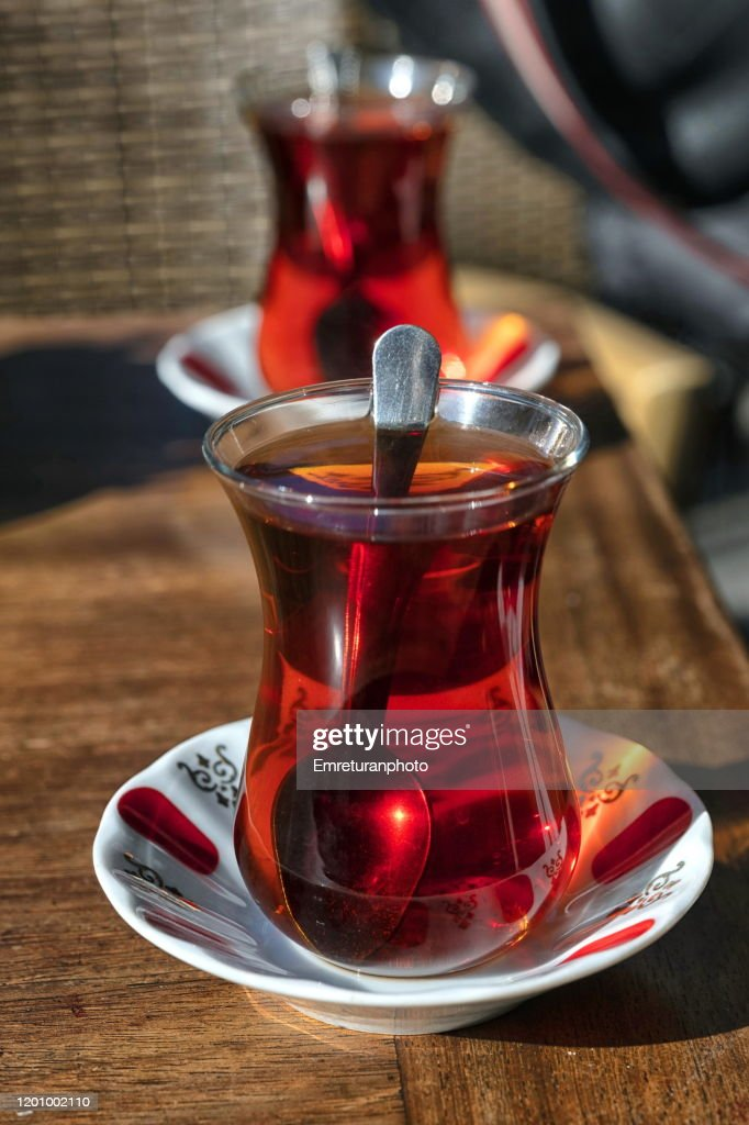 Close up of Turkish tea served in typical glass cups,Izmir. : Stock Photo