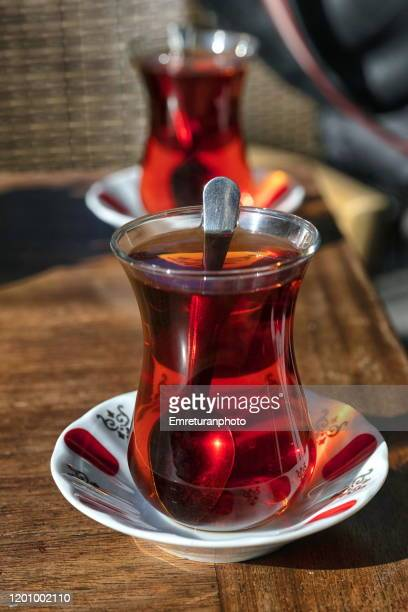 close up of turkish tea served in typical glass cups,izmir. - emreturanphoto stock pictures, royalty-free photos & images