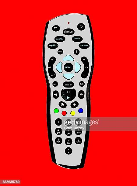 Close up of TV remote control with copy space