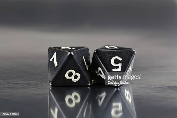 Close Up of two Dungeons and dragons black dice
