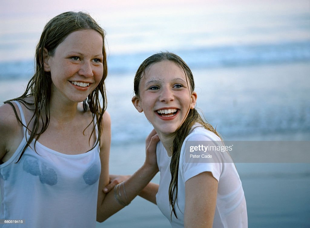 Close up of two girls on beach : Stock Photo
