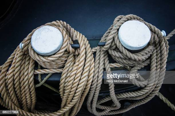 Close up of two heave mooring lines.