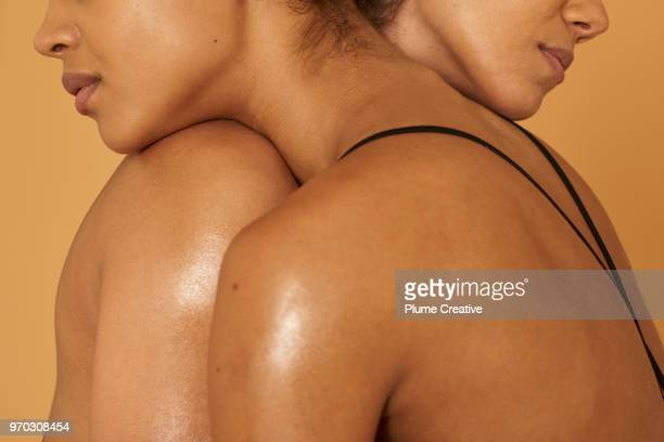 Close up of two women embracing