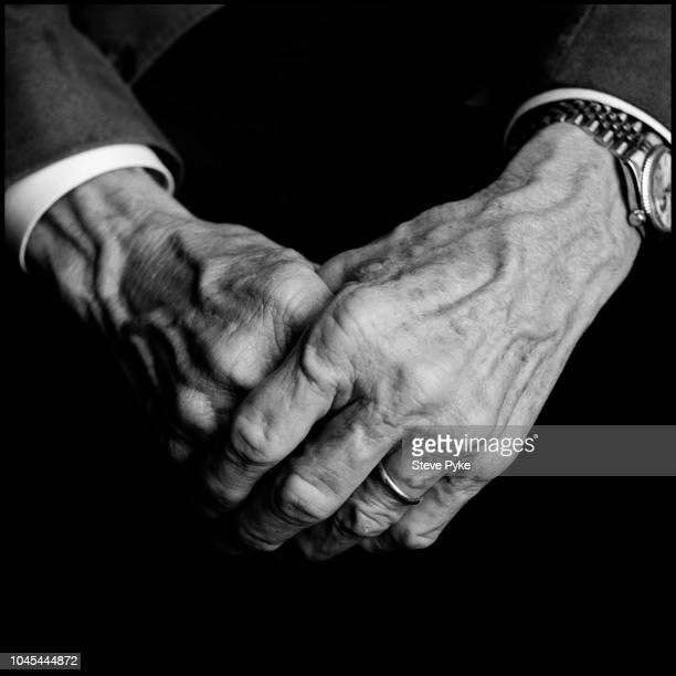 Close up of United States Air Force pilot aeronautical engineer test pilot and NASA astronaut Frank Borman's hands Las Cruces New Mexico US 26th...