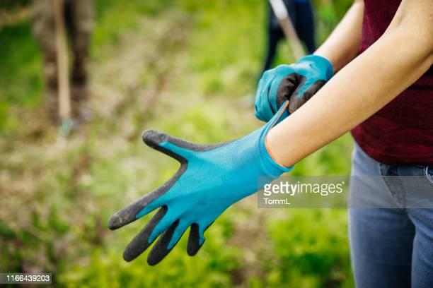 手袋をはめ込む都市農家のクローズアップ - 手袋 ストックフォトと画像