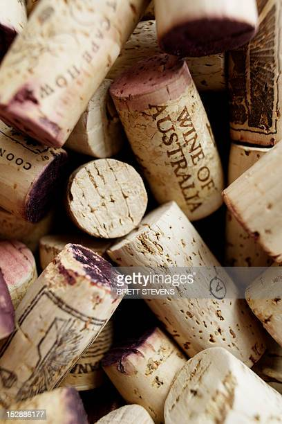 Close up of used wine corks