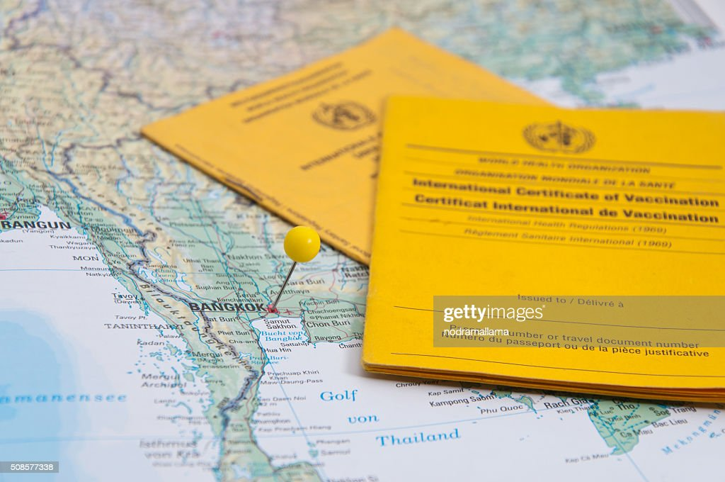 Close Up of Vaccination Certificate and world map. : Stock Photo