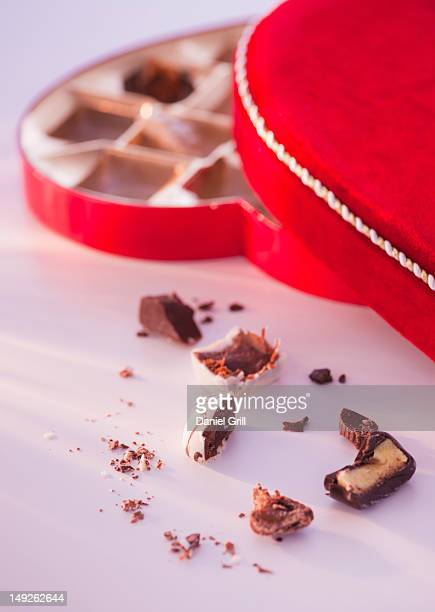 close up of valentine's day chocolates, studio shot - box of chocolate stock pictures, royalty-free photos & images