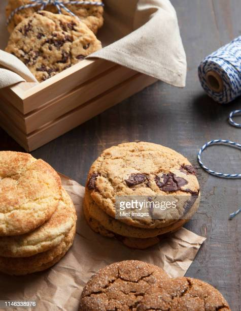 close up of variety of cookies - snickerdoodle stock pictures, royalty-free photos & images