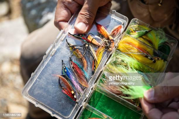 sluit omhoog van diverse haken van de vliegvisserij - vishaak visgerei stockfoto's en -beelden
