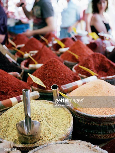 close up of various spices in the spice market - yeowell stock pictures, royalty-free photos & images