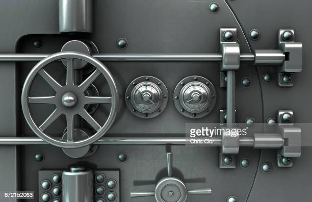 close up of vault door - steel stock pictures, royalty-free photos & images