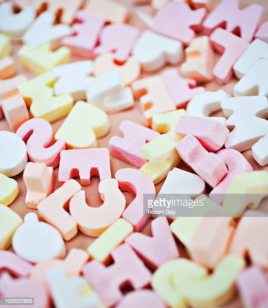 Nahaufnahme des lebhaften candy alphabet