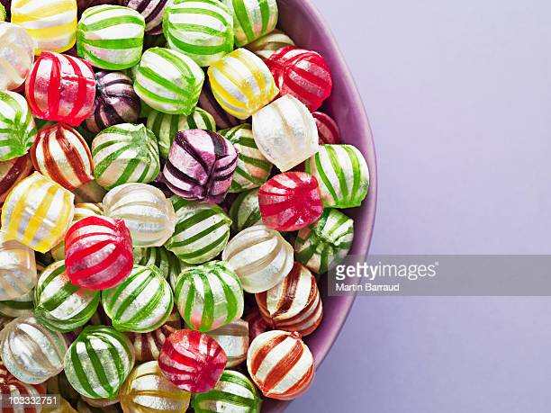Close up of vibrant hard candy in bowl