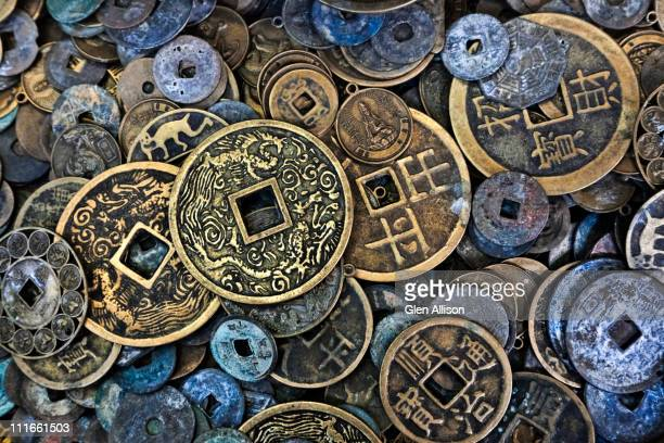 close up of vietnamese coins - vintage stock stock pictures, royalty-free photos & images