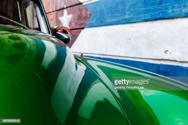 Close up of vintage green car hood