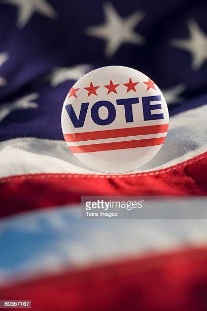 Close up of Vote button on American flag