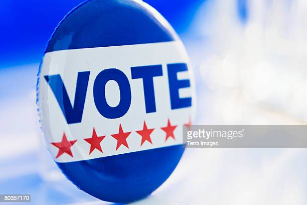 close up of vote button - campaign button stock pictures, royalty-free photos & images