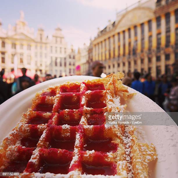 close up of waffles at a market - waffle stock photos and pictures