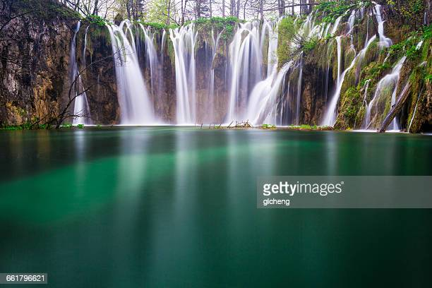 Close up of water flowing into lake, Plitvice Lakes National Park, Croatia