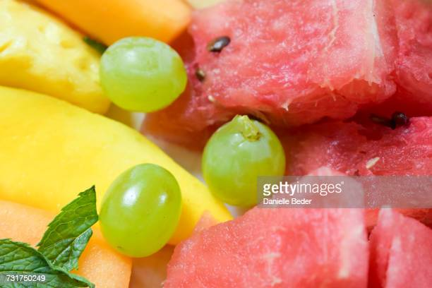 Close up of watermelon and other fruit on platter, South Africa