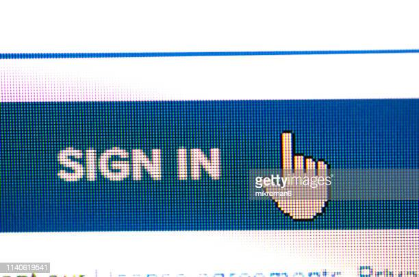 close up of website login procedure entrance - event icon set stock photos and pictures