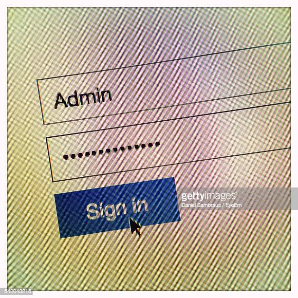 Close Up Of Website Login Procedure Entrance