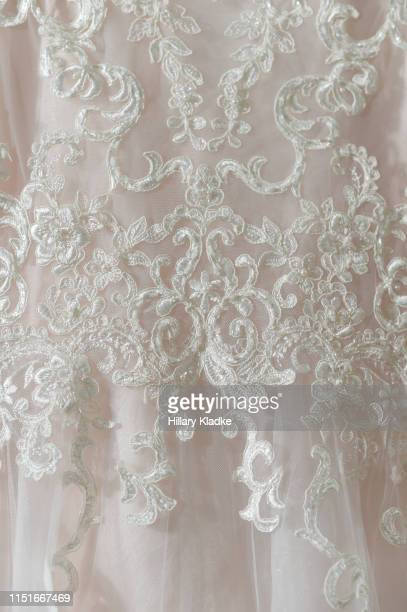 close up of wedding dress - lace textile stock pictures, royalty-free photos & images