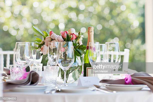 Close up of wedding reception place setting