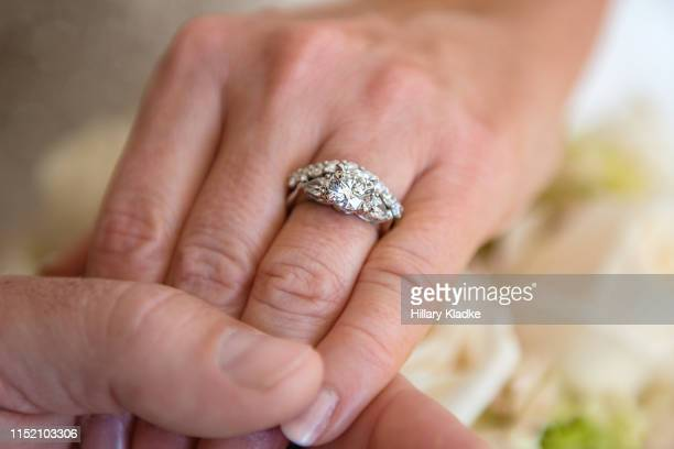 close up of wedding ring - diamond ring stock pictures, royalty-free photos & images