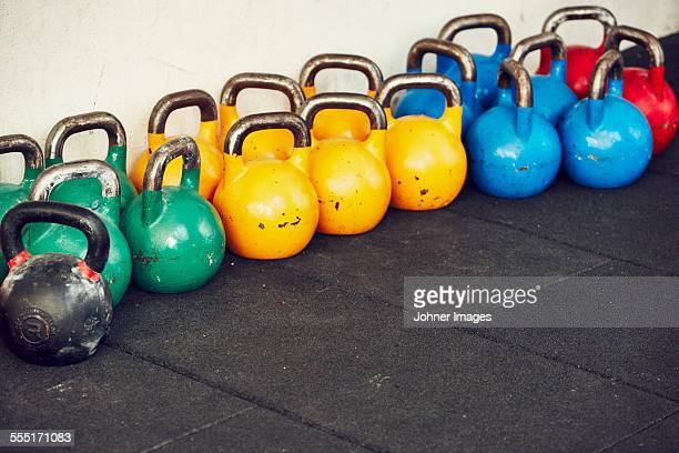 Close up of weights in gym