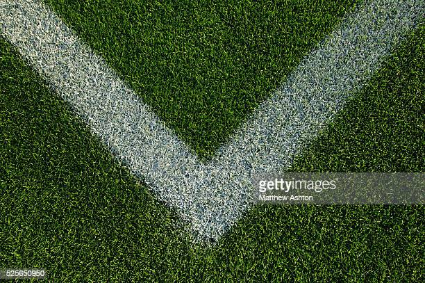 Close up of white line on the green grass at the Rose Bowl Stadium in Pasadena California Los Angeles County It hosted events during the 1932 and...