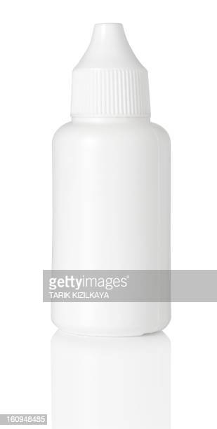 close up of white plastic bottle