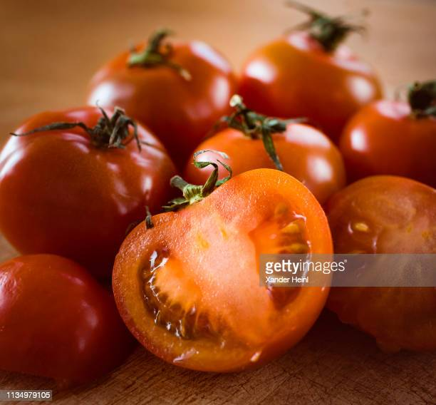 Close up of whole and halved tomatoes on February 07 2019 in Berlin Germany