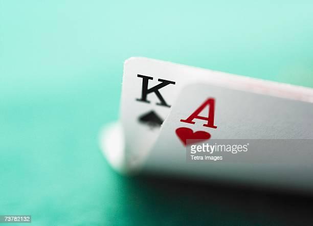 Close up of winning blackjack hand