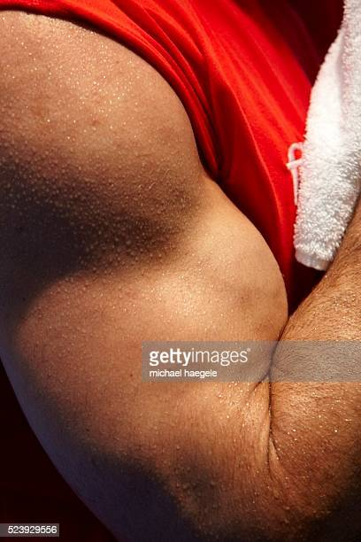 Close up of Wladimir Klitschko's arm during a public training session on March 17 2010 in Duesseldorf Germany The WBO Heavyweight World Championship...